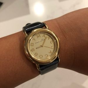 Marc Jacobs Navy Leather Strap Gold Watch